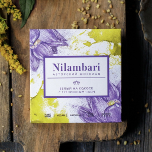 Шоколад Nilambari белый на кокосе с гречишным чаем (65 г)