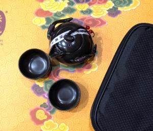 Дорожный набор, фарфор. Цвет черный. (2 пиалы)