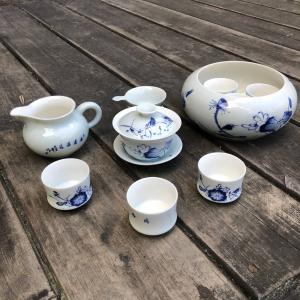чайный набор № 36 бело-голубая керамика