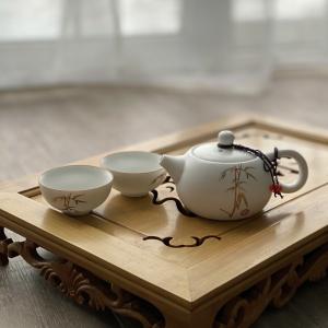 "Сервиз ДинЯо ""Бамбук"" чайник (180мл) и 2 пиалы (60мл), фарфор"