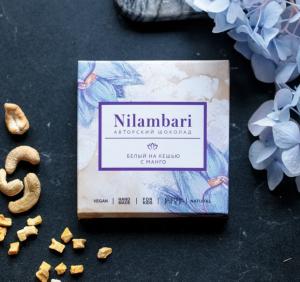 Шоколад Nilambari белый на кешью с манго (65 г)