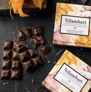 Шоколад Nilambari горький без сахара «Дикий апельсин» 65гр