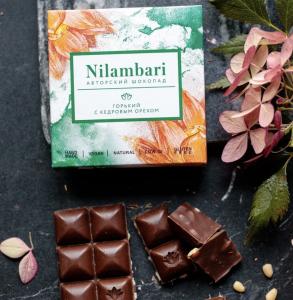 Шоколад Nilambari горький с кедровым орехом (65 г)