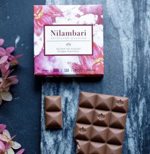 "Шоколад Nilambari белый на кешью ""Ягода-малина"" (65 г)"